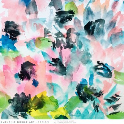 Abstract Watercolor Floral Pattern Design by Melanie Biehle July 2016