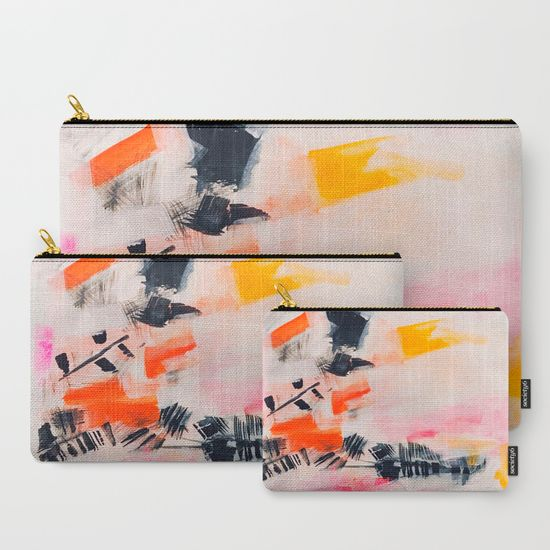 Light As A Feather Abstract Art Pouches by Melanie Biehle at Society6