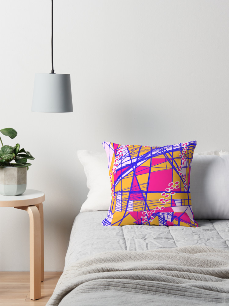 Bright geometric throw pillows to energize your living room by Melanie Biehle at Redbubble