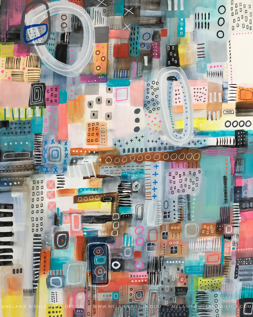 Comfort and Joy | Abstract Cityscape Mixed Media Painting by Melanie Biehle | watercolor, gouache, acrylic, ink | December 2016