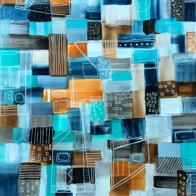 In Blue | Abstract Cityscape Mixed Media Painting by Melanie Biehle