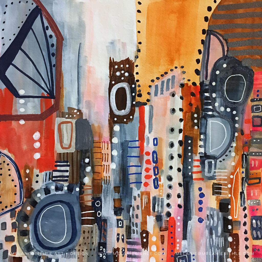 Lost In Translation Abstract Cityscape Painting by Melanie Biehle