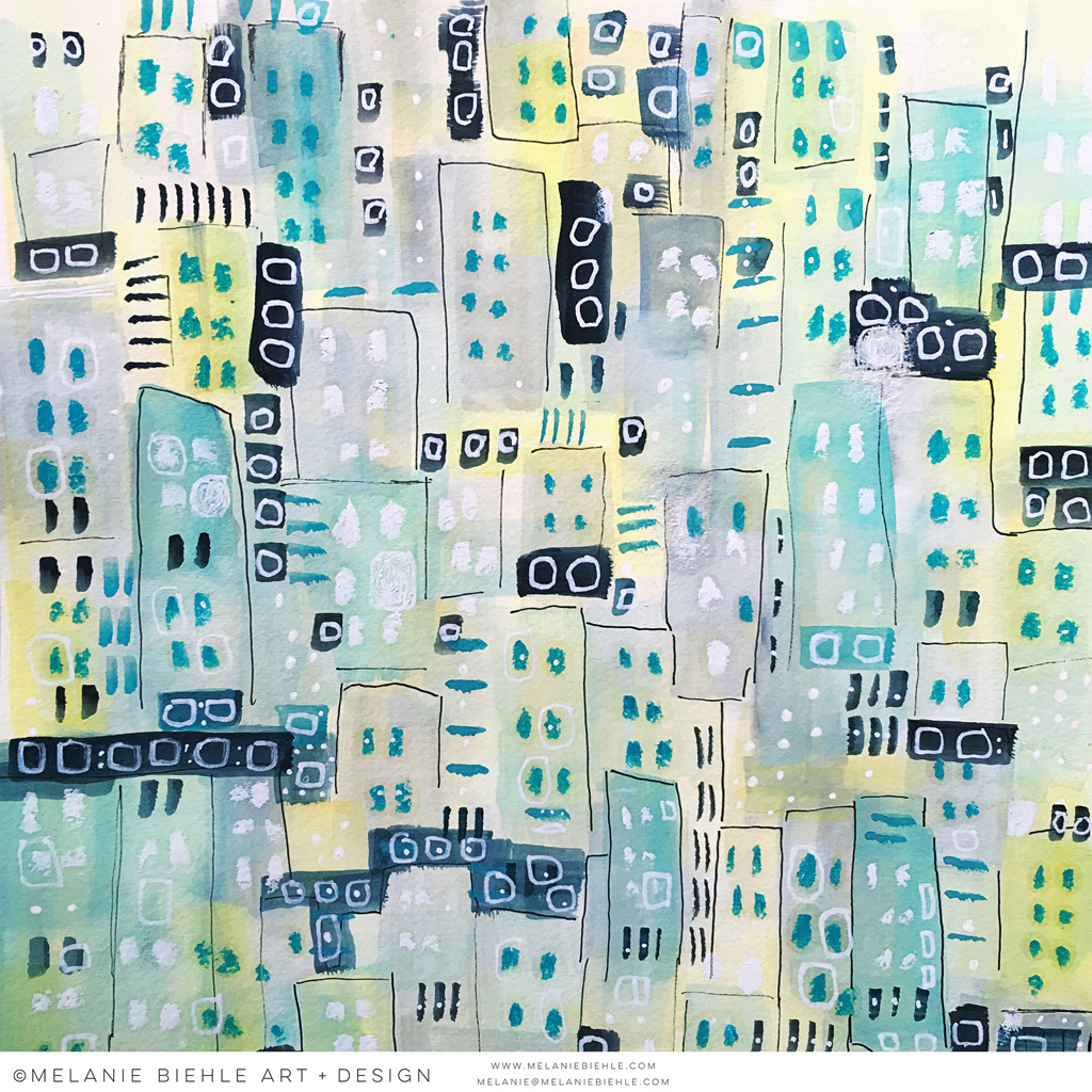 Springtime in the City | Abstract Cityscape by Melanie Biehle