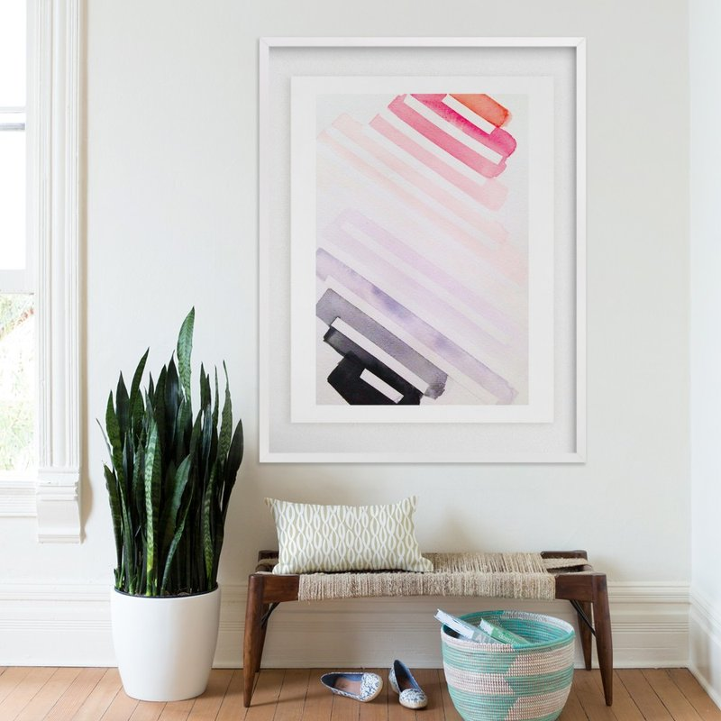 Pink With An Edge Watercolor Fine Art Print by Melanie Biehle for Minted