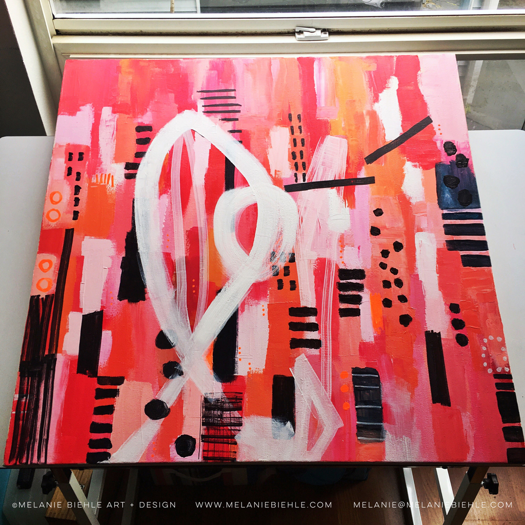 Pink Red Coral 30x30 acrylic painting in progress by Seattle artist Melanie Biehle.