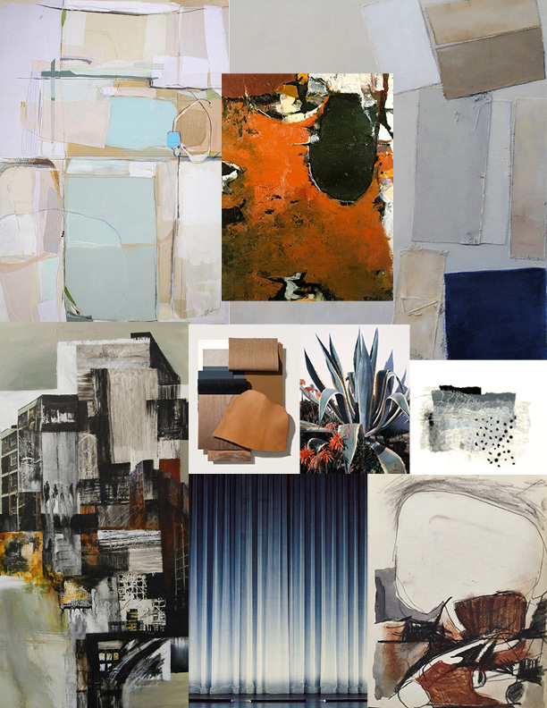 I love using mood boards as a tool for abstract painting and surface design commissions. It's a great way to explore color palettes and styles and to make sure that you're visually on the same page with your client.