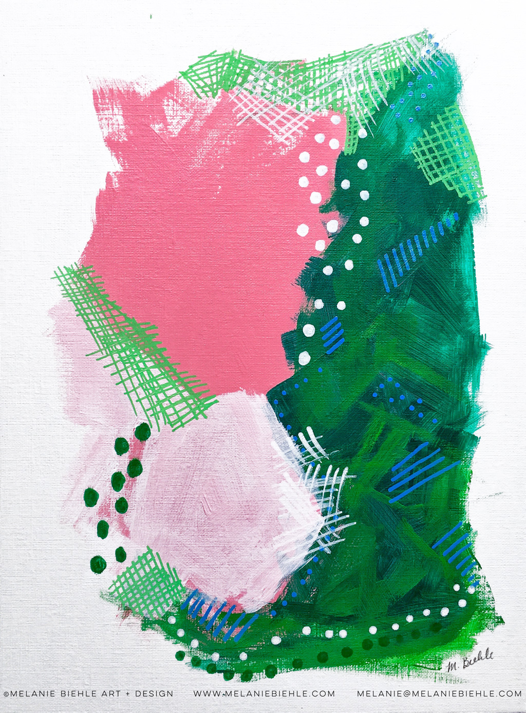 Fresh, spring hues of pink and green was the inspiration for the first of this three painting mini-series, all on various shades of pink backgrounds. The painting is created on Canson canvas board.
