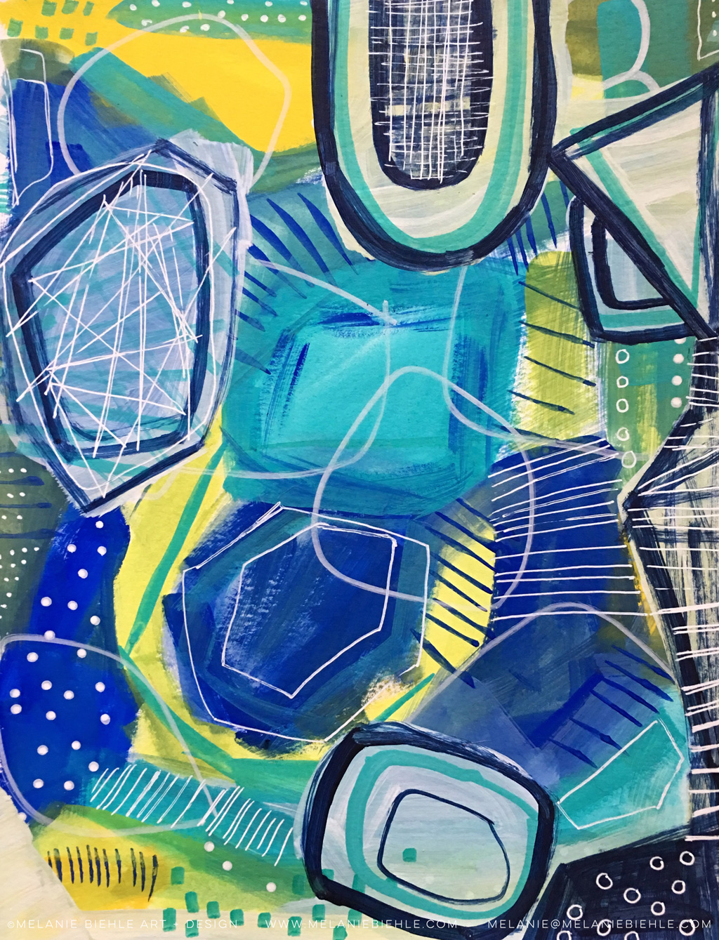 Hand Drawn Blue Yellow Geometric Surface Design by Melanie Biehle