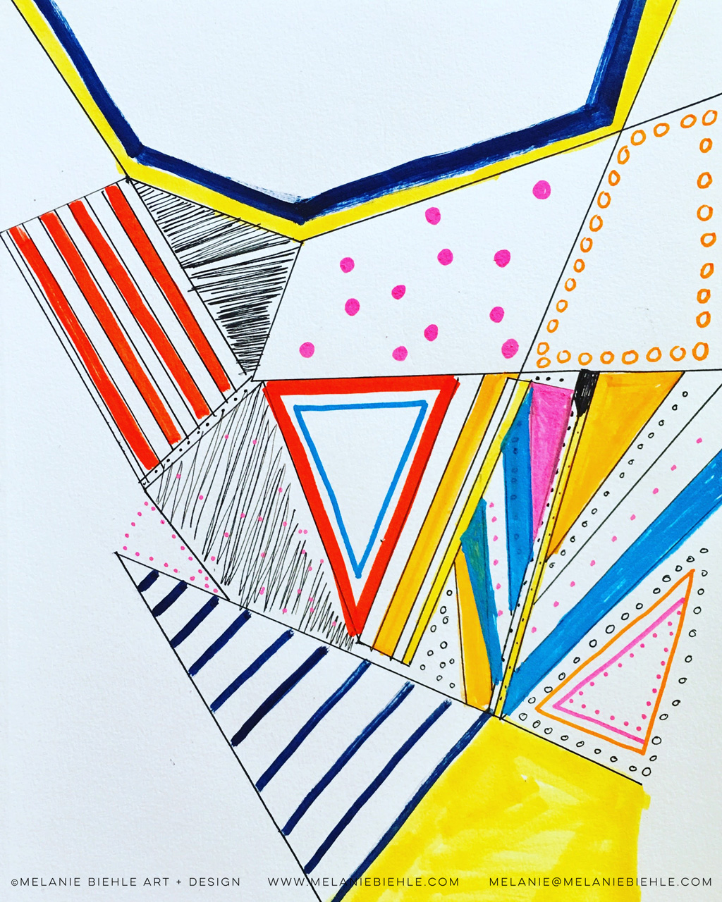 Hand Drawn Bright Geometric Surface Design by Melanie Biehle