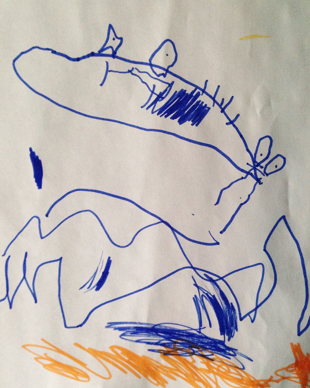 """The Titanic by Nathaniel, Age 3 - """"See the people falling off the end into the water, Mommy?"""" Yes. Yes, I do."""