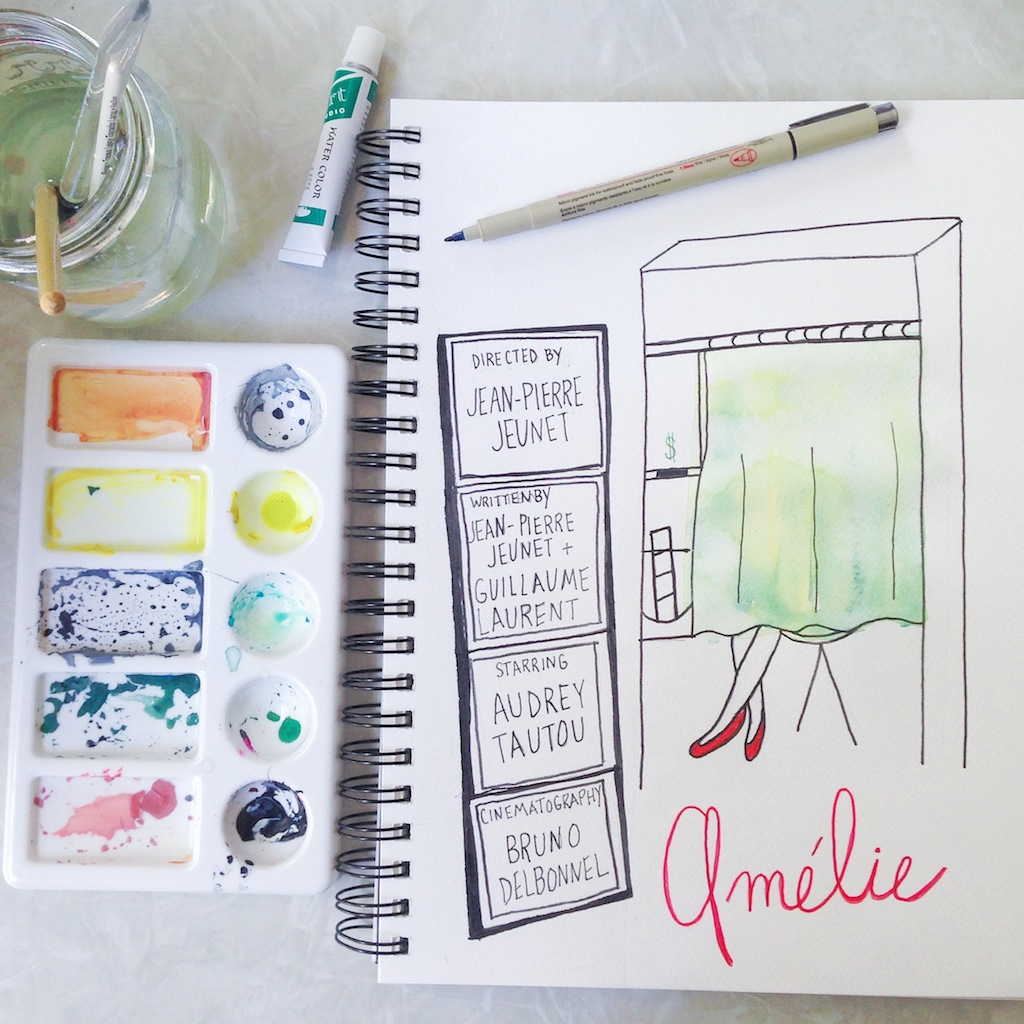 Amélie line drawing and watercolor by Melanie Biehle