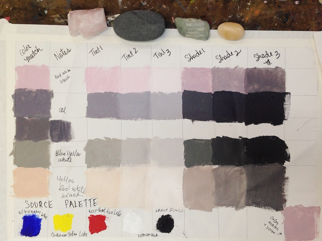 Creating shades and tints for my final Gage Academy of Art Abstract Painting I project