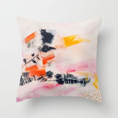 light as a feather pink abstract throw pillow