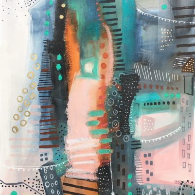 Structural abstract painting inspired by the architecture and energy of cities.