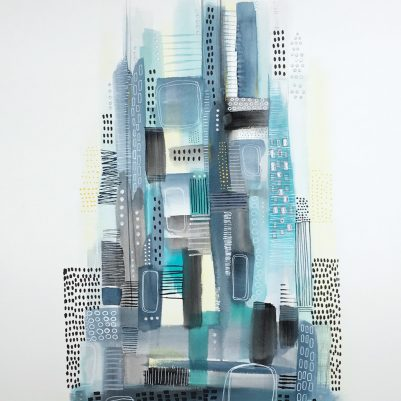 Cool Blues Abstract Cityscape by Melanie Biehle. Acrylic mark making paired with watercolor and gouache. The coolness and energy of this painting makes me miss Gossip Girl. xoxo