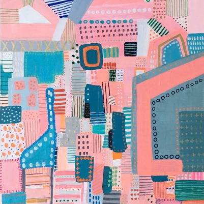 Seattle Artist Abstract Art Commission Pink Cityscape