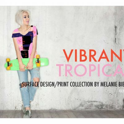Vibrant Tropical surface design and textile print design collection. Fun and modern apparel. Skater girl style.