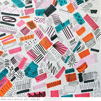 Textile Print Design |Pink Orange Aqua Black Gray Abstract | Melanie Biehle, May 2016