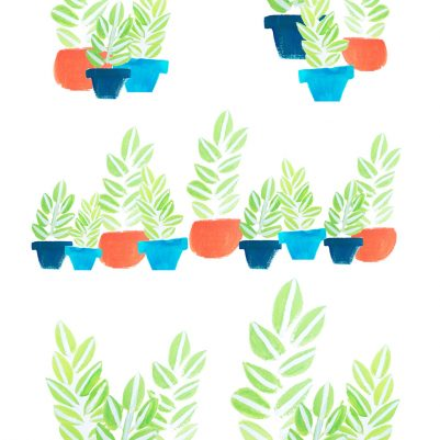 Happy Potted Plants in Gouache | Surface Pattern Design by Melanie Biehle