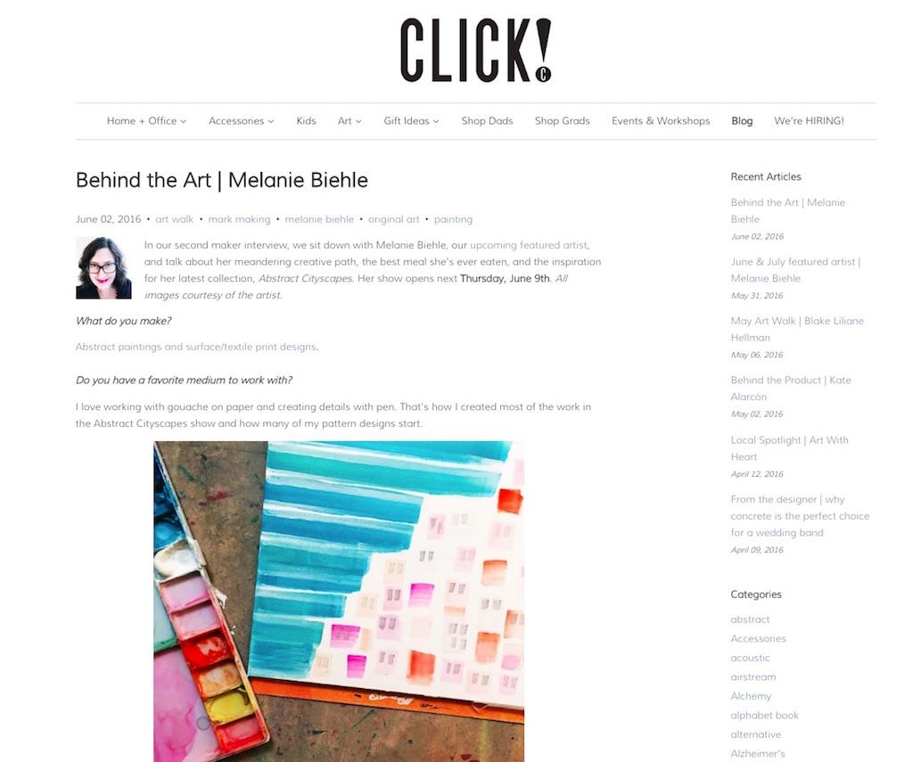 Behind the Art Melanie Biehle Artist Interview Click Design West Seattle June 2016