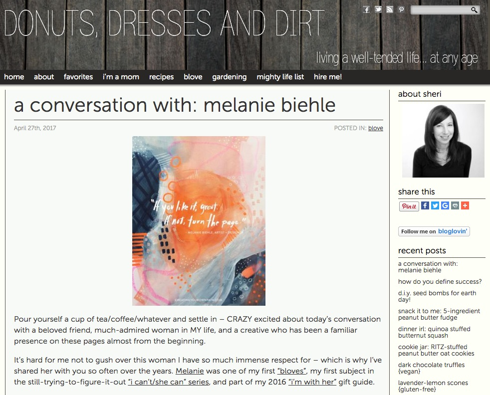 A Conversation with Artist and Designer Melanie Biehle | Sheri Silver at Donuts, Dresses and Dirt April 2017