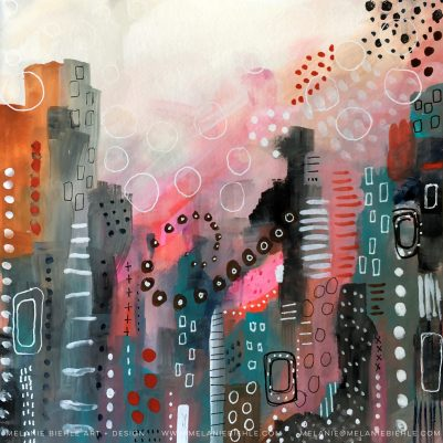 Abstract cityscape painting by Melanie Biehle