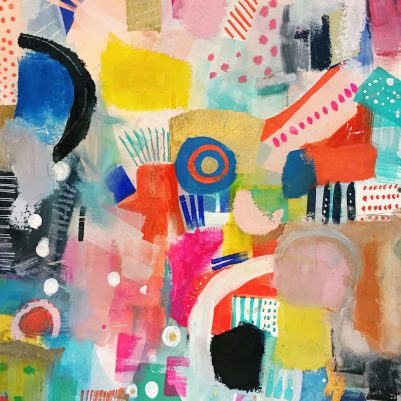 bright colorful abstract painting on paper | melanie biehle