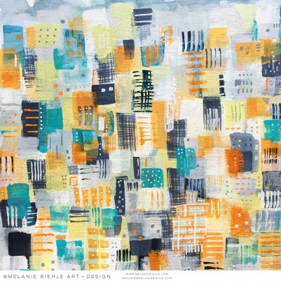 Orange Blue Gray Teal Abstract Cityscape Venice Beach by Melanie Biehle June 2016