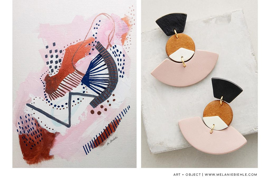Art + Object: Three Paintings on Pink, No. 3 + Nora Lozza Fanned Drops