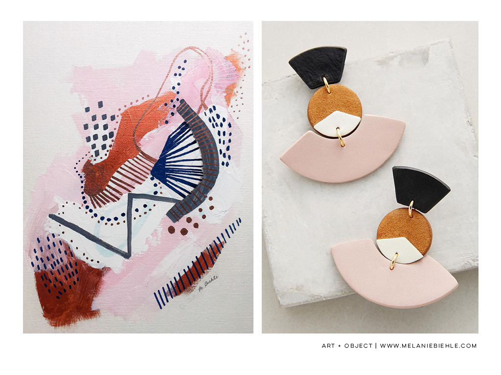art + object: three paintings on pink, no. 3 and nora lozza fanned drops