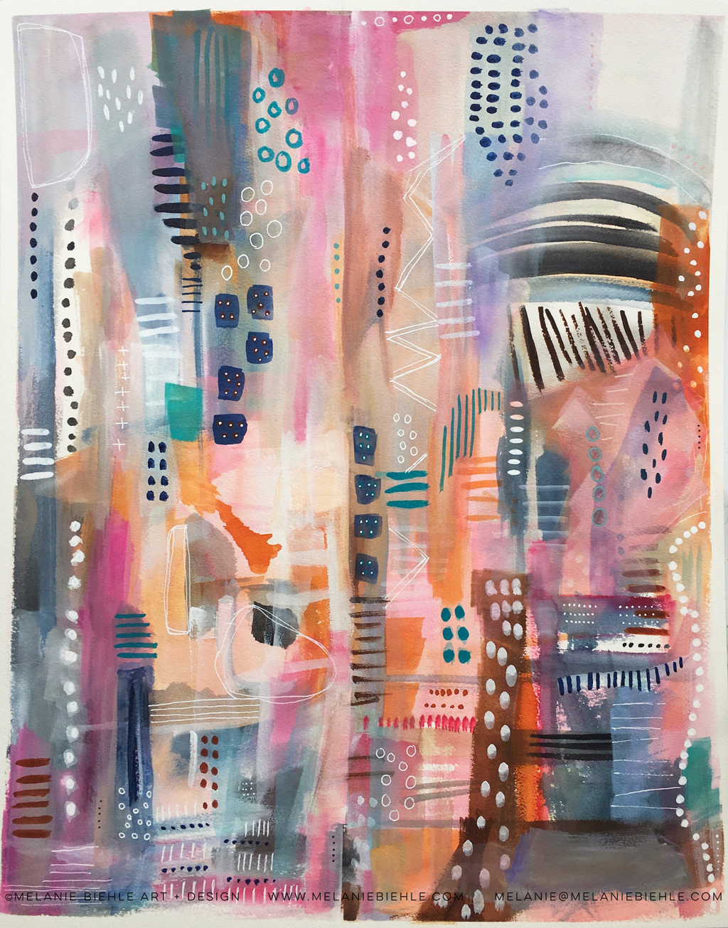 Lavender Nation is an abstract cityscape in a galaxy far far away. Watercolor painting by Seattle artist Melanie Biehle.