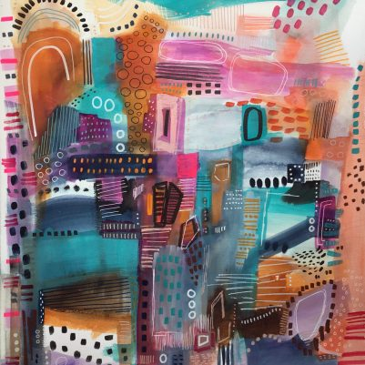 Assorted Charms, an abstract mixed media painting by Melanie Biehle. A tapestry of vibrant energy in the form of color and shape.