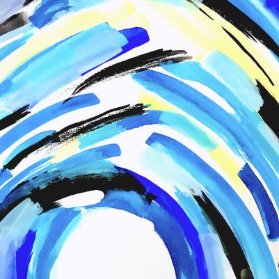 Blue Grotto abstract painting. Bright blues, yellows, and white space feels like a bright breezy summer day at the beach.