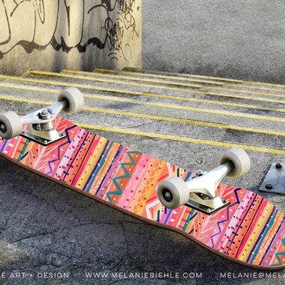 Bright Stripes Skateboard Art by Melanie Biehle
