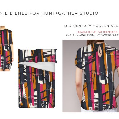 Mid Century Modern Abstract Textile Print Design by Melanie Biehle for Hunt+Gather Studio available at Patternbank