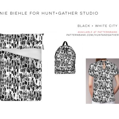 Black and White Cityscape Conversational Textile Print Design by Melanie Biehle for Hunt+Gather Studio available at Patternbank