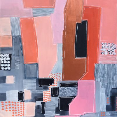 Organized Chaos is an abstract cityscape painting by Seattle contemporary painter Melanie Biehle. It is part of the View From the Top: Aerial Views of Imaginary Landscapes painting collection.