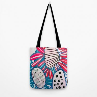 Bold Floral Tote Bag hand painted design by Seattle artist Melanie Biehle