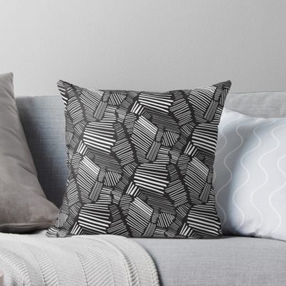 black and white bold graphic throw pillow